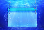 Underwater scene with banner for text with bubbles with Light rays — Stock Photo