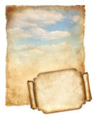 Old paper with blue sky and banner.jpg Currently being processed — Stock Photo