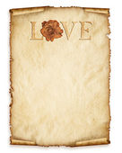 Old curly paper with red rose — Stock Photo