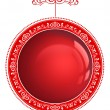 Red Christmas bauble with ornament isolated on a white backgroun — Foto de Stock