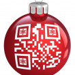 Red Christmas bauble, with ornament QR code, isolated on a white — Stock Photo