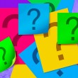 Colour paper sheet with question mark — Stock Photo