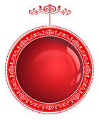Red Christmas bauble with ornament isolated on a white backgroun — Stock Photo