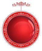 Vermelho bauble natal com ornamento isolado em um background branco — Fotografia Stock