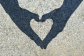 Shadow heart on the stone — Fotografia Stock