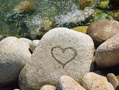 Wet heart on stone — Foto Stock