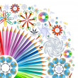 Background with kaleidoscope of school supplies — Stock Photo