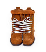 A pair of shoes tied one cod line. Symbol of emotion. — Stock Photo