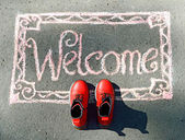 Welcome, inscription in chalk — Stock Photo