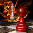 Stockfoto: Chess king burns. Concept graphic.