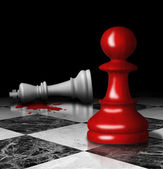 Killed chess king and pawn on board. Murdersymbol. — Stock Photo