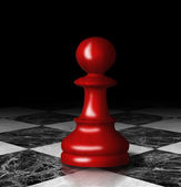 Red chess pawn on the marble chessboard. — Stock Photo