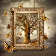 Magic tree with golden apples and butterflies in frame. Concept — Stock Photo