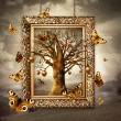 Stock Photo: Magic tree with golden apples and butterflies in frame. Concept