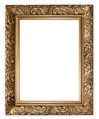 Antique golden frame isolated on white background — Foto Stock