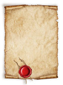 Scroll old paper sheet, Vintage aged old paper with red wax seal — Stock Photo