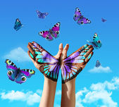 Mano y mariposas — Foto de Stock