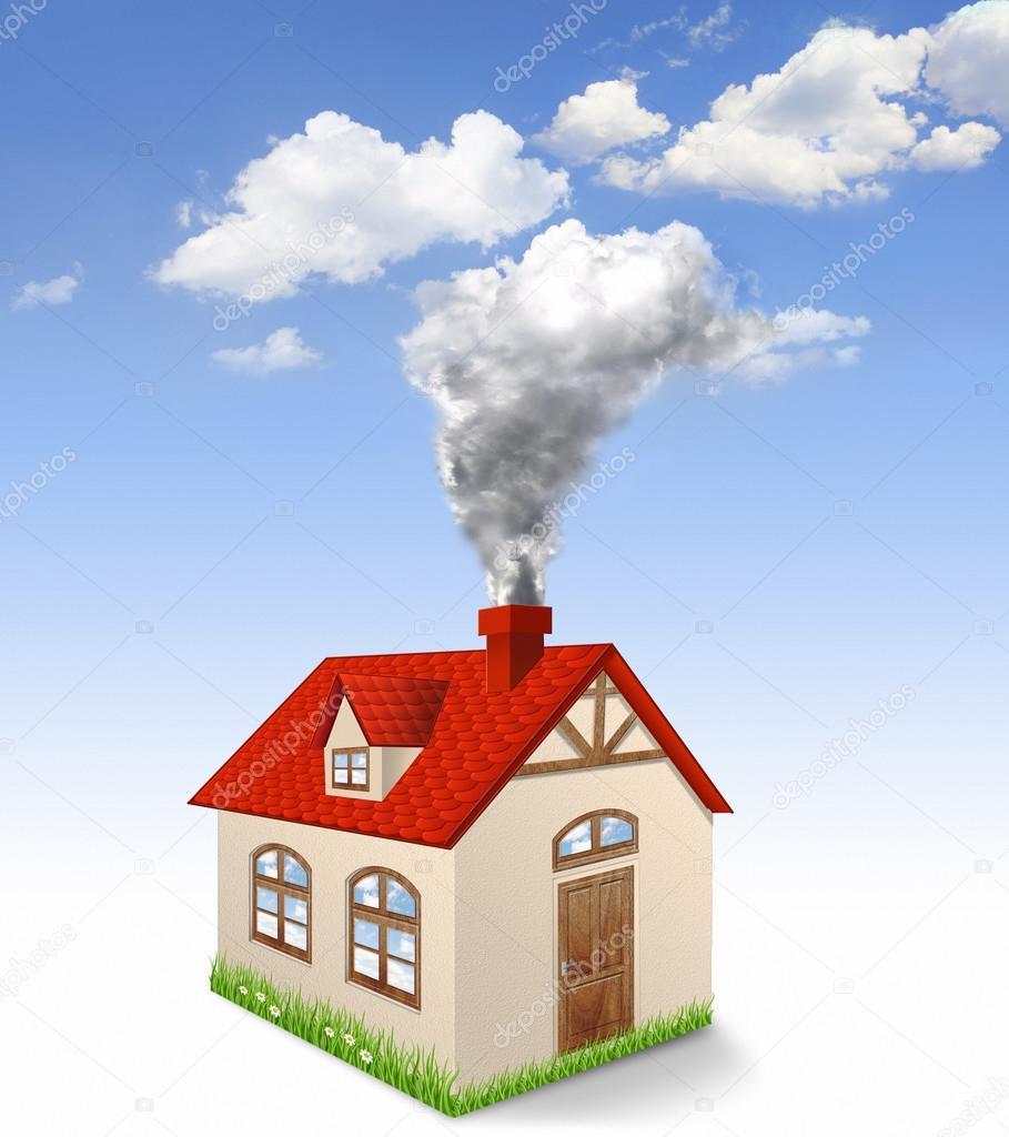 Casa produce fumo dal camino foto stock cranach2 43994757 for Disegni camino casa