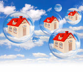 House bubble on the background blue sky on white — Stock Photo