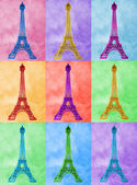 Illustration of bright, high-heel Eiffel Tower on colourful tile — Stock Photo