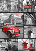 Paris collage of the most famous monuments and landmarks — Stock Photo
