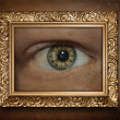 Eye with clock in frame. Surreal concept graphic. — Stock Photo #49239707