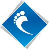 Podiatrist foot blue logo — Stock Photo