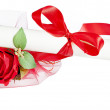 Parchment certificate with rose and ladybug — Stock Photo