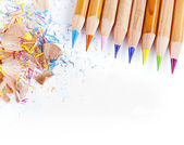 Colored pencils on a withe background — Stock Photo