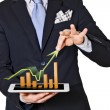 Business man which extracts bar graphs - Stock Photo
