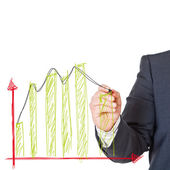 Business man with graph — Stock Photo