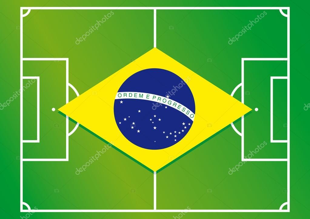足球场巴西国旗矢量图