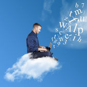 Businessman works over a cloud — Stockfoto