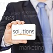 Business card offer solutions — Stock Photo
