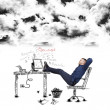 Businessman relaxing below black clouds — Stock Photo