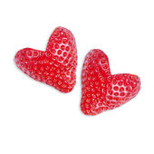 Two strawberries in the shape of heart — Stock Photo