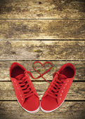 Heart-shaped red shoelaces — Stock Photo
