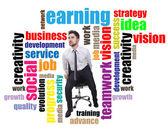Businessman between business word — ストック写真