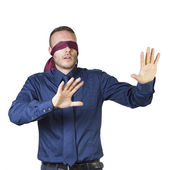 Businessman in blindfold — Stock Photo