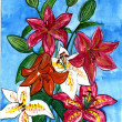 The picture an author a colorful Indoor and greenhouse lily flower — 图库照片