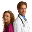 Happy attractive young nurse and doctor — Stock Photo