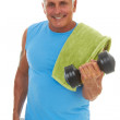 Happy Mature caucasion male doing a workout — Stock Photo