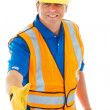 Foto Stock: Caucasion male construction worker gesturing handshake