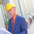 Construction Foreman With Building Plan — Stock Photo