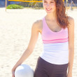 Pretty Young WomWith Volleyball — Stock Photo #29919191