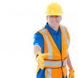 Caucasion male construction worker gesturing handshake — Stock Photo