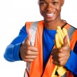 African-American male construction worker giving two thumbs up — Stock Photo #29919371