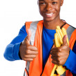 Stock Photo: African-American male construction worker giving two thumbs up