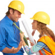Female Construction Worker Mad At Architect — Stock Photo