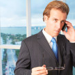 Serious Business Executive Attending Call — Stock Photo